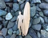2 Pack - Longboard Surfer Guy Walnut Wood Veneer Laser Cut Sticker