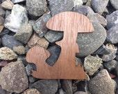 2 Pack - Mushrooms in the Grass Natural Fungus Walnut Wood Laser Cut Sticker