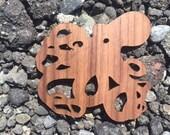 2 Pack - Ocean Depths Tentacle Octopus Walnut Wood Veneer Laser Cut Wooden Sticker