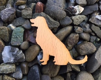 Golden Retriever Puppy Dog Silhouette Beech Wood Laser Cut Sticker