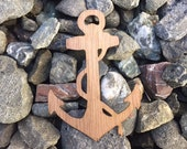 2 Pack - Ship Ashore Nautical Anchor Walnut Wooden Sticker