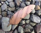 2 Pack - Feather Quill Walnut Wood Veneer Laser Cut Sticker