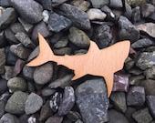 2 Pack - Great White Shark Beech Wood Veneer Laser Cut Sticker