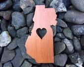 2 Pack - Humboldt County Love Redwood Wood Veneer Laser Cut Sticker