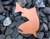 2 Pack - Swimming Salmon Redwood Wood Veneer Laser Cut Sticker