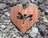 2 Pack - Dragonfly Garden Love Heart Cutout Walnut Wood Veneer Wooden Sticker