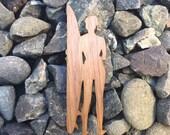 2 Pack - Surfer Girl Ocean Lover Walnut Wood Sticker