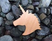 2 Pack - Fantasy Unicorn Mythical Creature Silhouette Beech Wood Laser Cut Sticker
