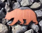 2 Pack - California Bear Redwood Wood Veneer Laser Cut Sticker