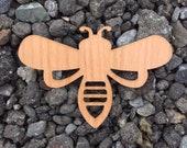 2 Pack - Honey Bee Queen Bee Beech Wood Veneer Laser Cut Wooden Sticker