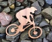 2 Pack - BMX Racer Bike Rider Silhouette Walnut Wood Veneer Laser Cut Sticker