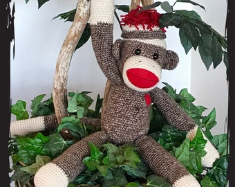 Large Handmade Sock Monkey - Crochet - Plush Stuffed Animal - Can be customized