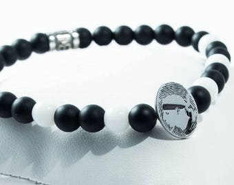 Corsican-print pearl bracelet