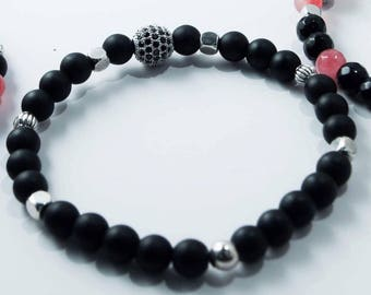 Black zirconia beads and ball bracelets