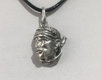 Silver Moorish head pendant 925
