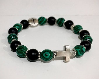 bracelet onyx and malachites