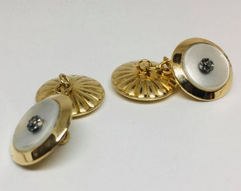 Vintage gold yellow 750 and mother-of-pearl cufflinks