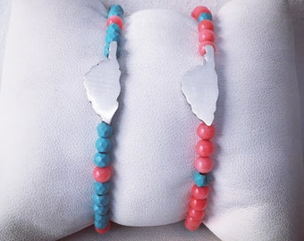 Bracelet ILE CORSE coral and turquoise