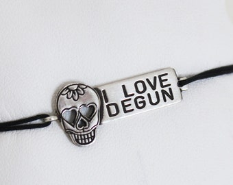 "Bracelet ""I LOVE DEGUN"" Silver 925 and cord jade yarn"