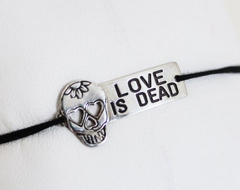 "Bracelet ""LOVE IS DEAD"" 925 sterling silver & jade cord"