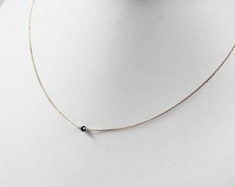 Pink necklace chain gold black diamond