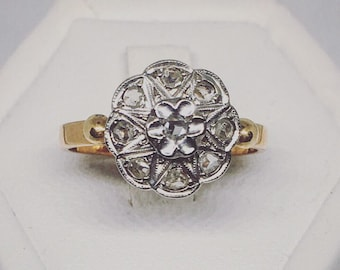 Vintage gold ring 750 and diamonds