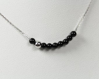 White Gold Necklace Onyx Pearls