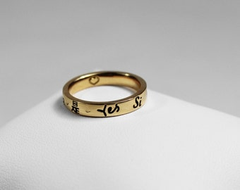 "Alliance ""YES"" in several languages Yellow Gold 750"
