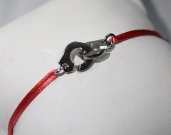 925 silver handcuffs bracelet with colour cord of your choice