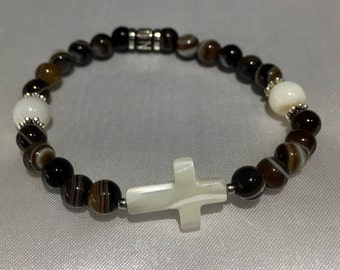 Agates natural coffee bracelet - Cross in mother-of-pearl