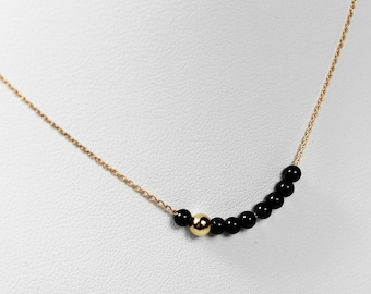 Pink Gold Chain necklace and Onyx pearls