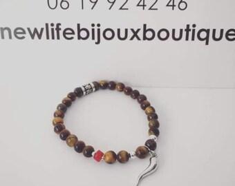 Tiger Eye and Coral Bracelet