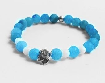 Bracelet beads blue head of Moorish