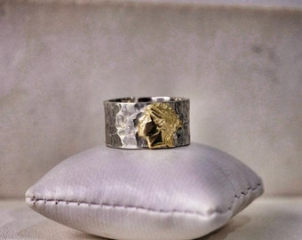 GOLD and Hammered Silver Ring
