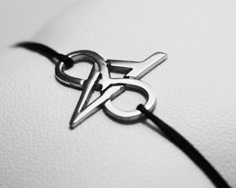 Infinite Corsican bracelet in Silver 925 rodhié on Jade wire cord