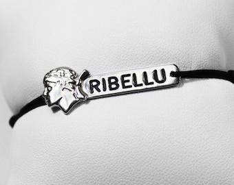 "Bracelet ""RIBELLU "" Silver 925 & cord jade thread"
