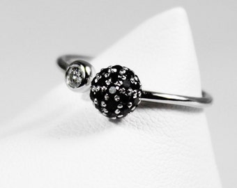 White and black diamond ring