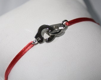 925 Silver Handcuff Bracelet with colour cord of your choice
