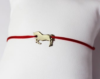 Horse Gold 750 bracelet on Jade wire