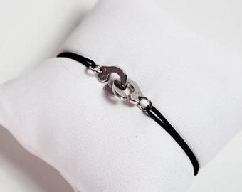 Bracelet cuffs in gold white 750 rodhie corded wire black jade