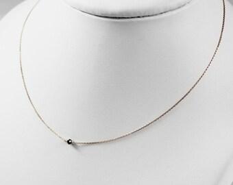 Black Diamond Pink Gold Chain Necklace