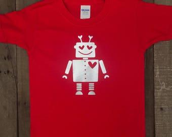 Love Robot Shirt - Boys Valentine's Shirt - Love Machine Shirt - Boys Robot Shirt - Boys Robot Valentine's Shirt