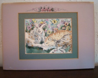 Alice Shaw Watercolor Art Print Shabby Chic with Artist decorated Mat Frame!