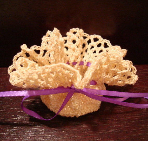 Ruffle Top Handmade Crochet Sachet from a Vintage Pattern! Potpourri and Sachet