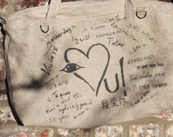 "Hermione Bag ""I love you"" in linen"