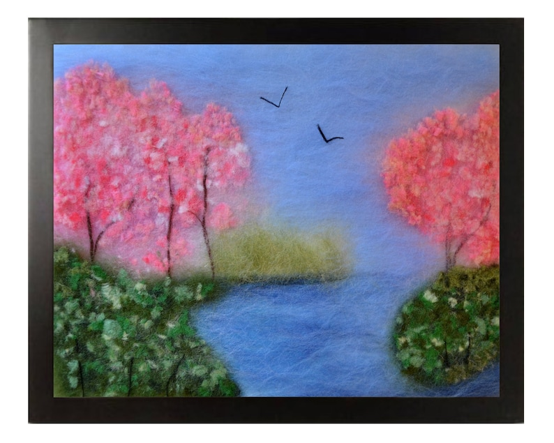 Landscape Painting Nature Art Felted Pictures Felt Art Wool Painting Wool Felted Landscape Felt Wall Art Wool Picture Landscape