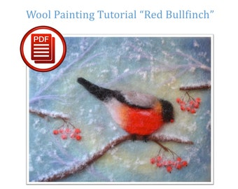 Felting Tutorial, Felt Bird, PDF Download, How to Draw, Wool Painting, Wool Art, Textile Art, Bird Painting, Felting, Tutorial