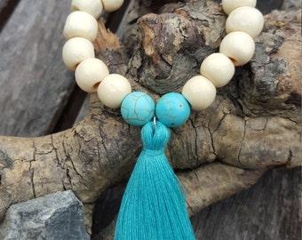 Beaded tassel bracelet, turquoise tassel bracelet, Bohemian bracelet, Boho jewelry, Wood beads bracelet, stacking bracelet