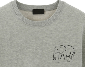Mens Hooded Sweatshirt Original Literary Design Elephant Logo White M