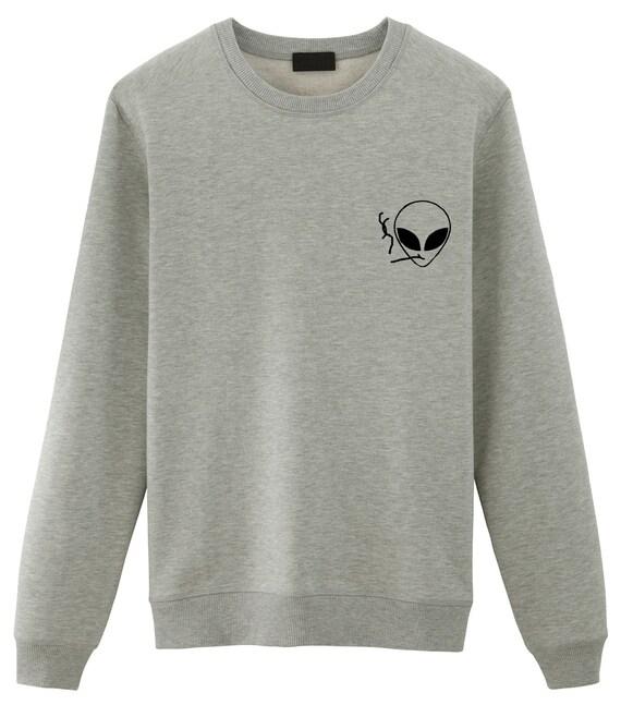 f28cd6b17f4a Smoking Alien Sweater Tumblr SweatshirtsGrunge Sweater